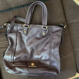 MBMJ Brown leather top handle tote /shoulder strap